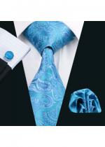Комплект мъжка вратовръзка, ръкавели и кърпичка в синьо