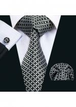 Комплект за младоженец- мъжка вратовръзка, ръкавели и кърпичка в черно и сребро