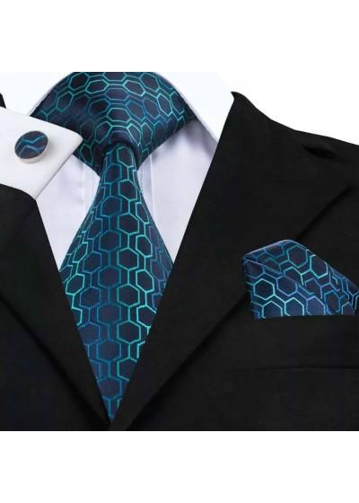 Комплект вратовръзка за младоженец, ръкавели и кърпичка в тъмно синьо и тюркоаз
