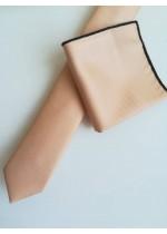 Комплект за младоженец и абитуриент вратовръзка и кърпичка в цвят праскова