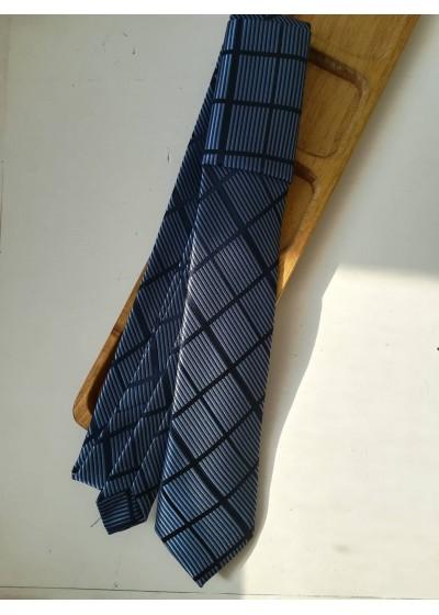 Луксозна мъжка копринена вратовръзка в тъмно и светло синьо К0881
