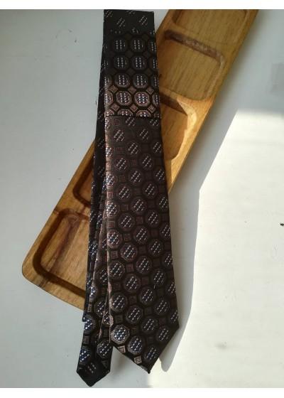 Луксозна мъжка вратовръзка от копринен жакард със стилни мотиви комбинация тъмно синьо, кафяво и бежово by Polovito К0884