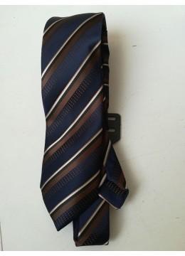 Луксозна официална вратовръзка от коприна в тъмно синьо и кафяво