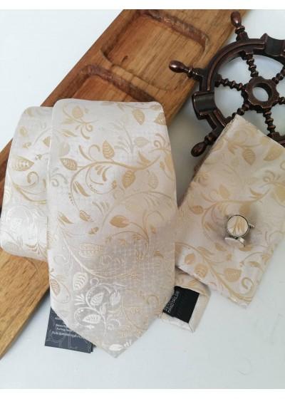 Комплект вратовръзка за младоженец, ръкавели и кърпичка в екрю и златно