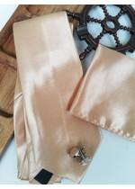 Сватбена вратовръзка за младоженец, ръкавели и кърпичка в бежово