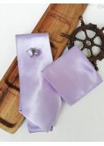 Сватбен комплект вратовръзка за младоженец, ръкавели и кърпичка в светло лилаво