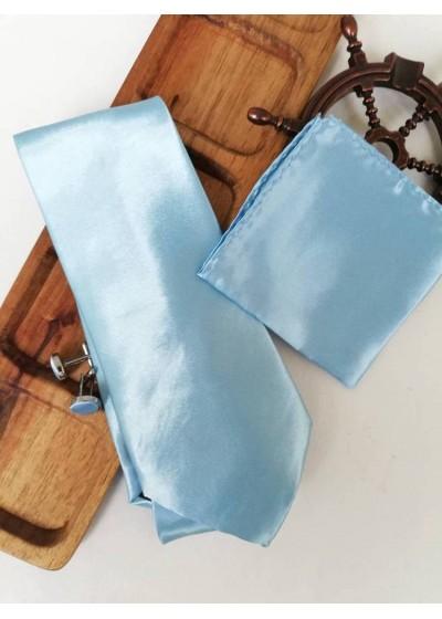 Комплект вратовръзка за младоженец, ръкавели и кърпичка в светло синьо