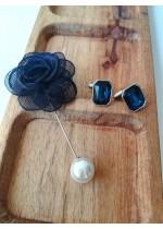Сватбен комплект ръкавели и бутониера в тъмно синьо
