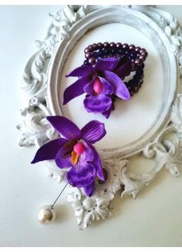 Сватбена бутониера и гривна - корсаж с орхидеи и Swarovski кристали за Кума и шаферка Purple Passion