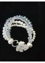 Булчинска гривна с 4 реда стъклени перли и кристали Сваровски Delicate in White by Rosie
