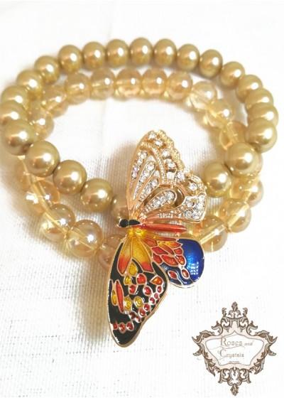 Красива дизайнерска Гривна за сватба и бал в златно с два реда перли и мъниста Прециоза модел Gold Fly серия Nature