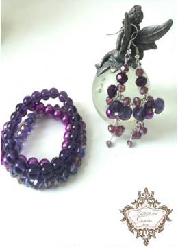 Гривни и обици с лилави кристали Purple Dreams by Rosie
