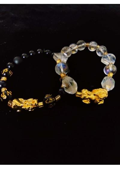 Луксозен подарък за булка и младоженец - гривни талисмани с позлатен символ на късмета Pi Xiu