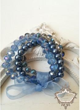 Луксозен комплект гривни от Сваровски кристали и стъклени перли в синьо Something Blue