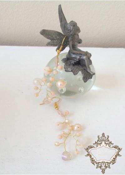 Сватбени обици от кристали Сваровски цвят праскова Garden Blush