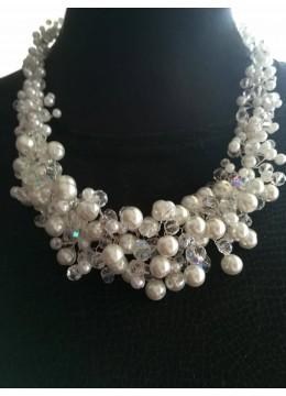 Сватбено колие от перли и кристали Сваровски модел White Crystal Magic by Rosie Concept