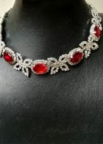 Красиво колие с кристали в червени нюанси - Ruby Red Rose