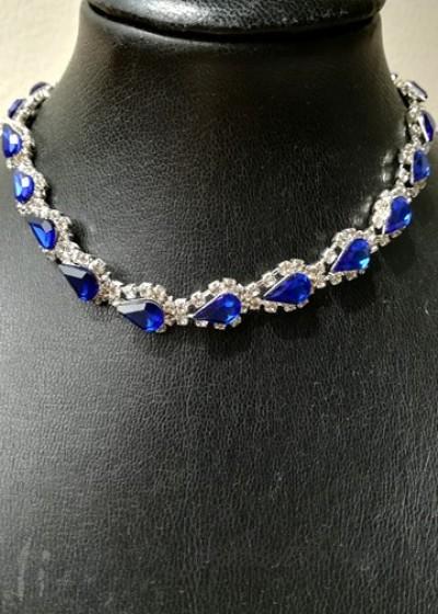 Луксозно колие с кристали в кралско синьо - Sapphire Blue