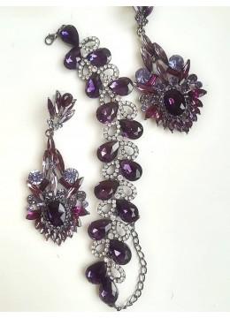 Абитуриентски комплект кристална гривна и обици в лилаво Amethyst Flower