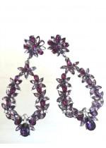 Дълги обици за бал и официални поводи в лилаво и бяло модел Amethyst Flowers