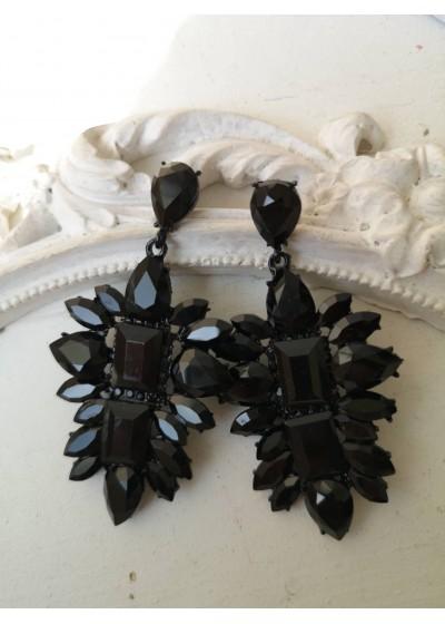 Луксозни кристални обици в черно Black Style