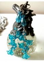 Луксозни официални обици от кристали в цвят тюркоаз от серия Blue Bell by Rosie