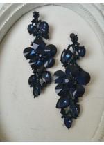 Обици с тъмносини кристали - Blue Roses