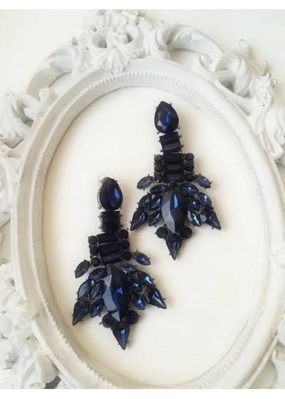 Изящни кристални обици в тъмно синьо Blue Style