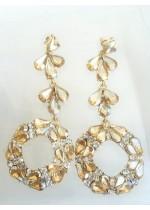 Изискани дълги кристални обици в цвят златно модел Circle of Flowers