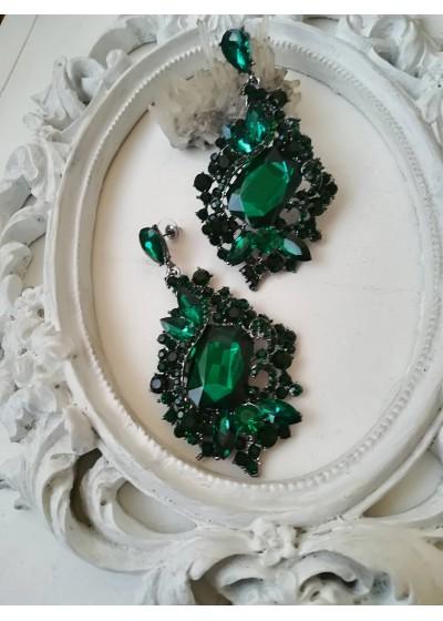 Красиви кристални обици в изумрудено зелено Emerald Dream