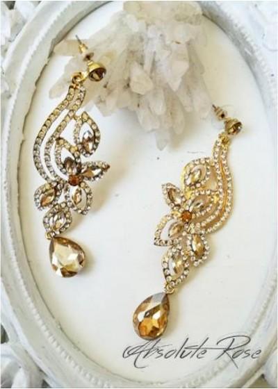 Блестящи обици с кристали в златно - Galata Gold