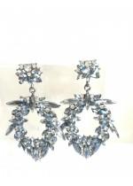 Висящи обици с кристали в светло синьо и бяло - Light Blue Shadow