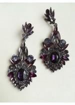 Лилави кристални висящи обици за официални случаи модел Lilac Flower