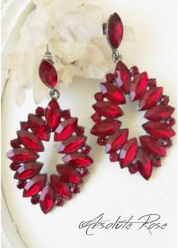 Красиви висящи обици с червени кристали - Malta Red