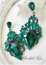 Масивни обици в тъмно зелено с кристали - модел Paris
