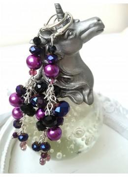 Сватбени висящи обици в тъмно лилаво и черно модел Purple Dreams by Rosie
