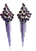 Лилави кристални висящи обици за официални случаи модел Purple Flowers