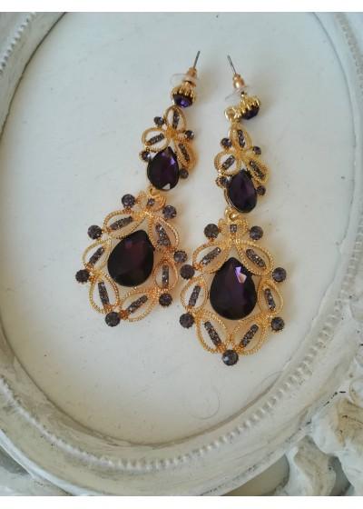 Абитуриентски обици с лилави кристали в златист обков Purple Gold