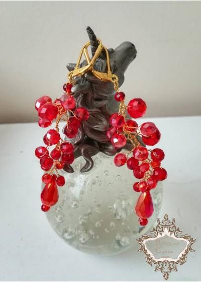 Луксозни кристални обици за сватба и бал в червено и златно модел Red Fashion by Rosie