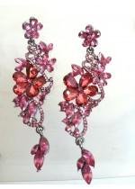 Ефектни кристални обици в розов цвят модел Rose Flowers