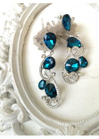 Красиви кристални обици в тюркоазено Turquoise Beauty