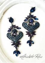 Официални висящи кристални обици в тъмно синьо Venice