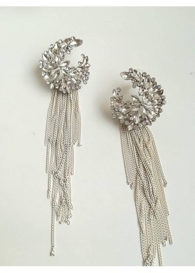 Кристални висящи обици за булка цвят бяло и сребърно White Flowers