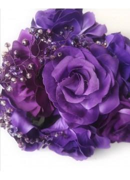 Сватбен букет с луксозни рози и кристали в тъмно лилаво Amethyst Rose by Rosie Concept