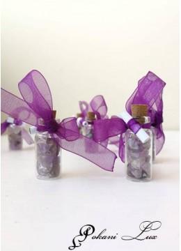 Подаръче за гости на бал шишенца с полускъпоценен камък аметист- над 20 бр
