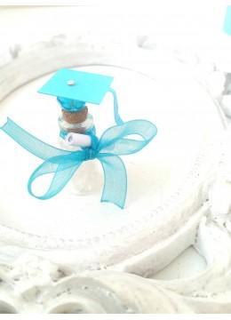 Подаръчета за гости за абитуриентски бал кристал и шапка цвят тюркоаз
