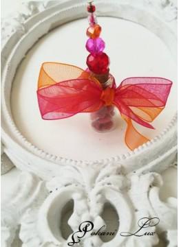 Сувенири за гости на сватба и абитуриентски бал с кристали червено и оранжево Дуо над 20 бр