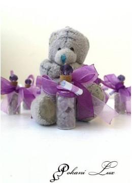 Сувенири за гости на кръщене в лилаво шишенце Дуо с кристал - над 20 бр
