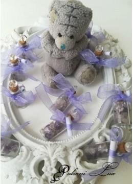 Сувенир за гости за свето кръщение шишенце в светло лилаво с кристал над 20 бр