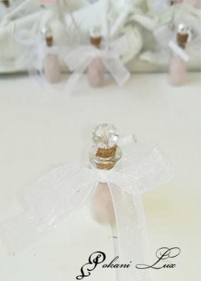 Сувенир за гости на сватба бал и кръщене в розово и бяло с кристал над 20 бр